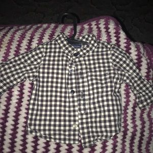 0-3 month black and white button up dress shirt